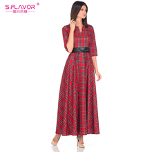 S.FLAVOR Women Scottish style red plaid long dress 2018 Spring fashion half sleeve casual vestidos for female loose style dress(China)