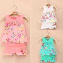 1-5 ages 2015 New summer girls clothing sets fashion children girls lace floral bowknot vest + shorts 2 pic clothing suits girls