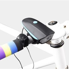 Cycling Mountain Bike Electric Horn Bell Bicycle Light Super Bright Headlights Vocal USB Charging Night Riding Cycling New(China)
