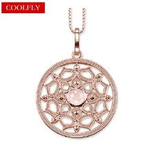 Large Pink Lotus Round Pendant Link Chain Necklaces Thomas Style Rose Gold Color Glam Fashion Jewelry For Women Ts Collares Gift