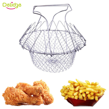 Delidge 1 pc Frying Basket Stainless Steel Foldable Fry Colander Magic Basket Folding Mesh Basket Strainer Net