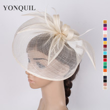 NEW Sinamay hats kentucky fascinator hair accessories for wedding 17 colors ladies cocktail hat ivory derby Headpieces for sale
