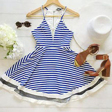 Sexy Womens camis dress Summer Deep V dress Short Dres Ladies Summer striped sleeveless womens Tunic dress
