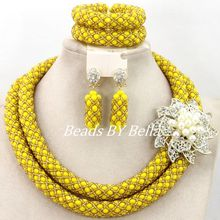 Well Made Nigerian Wedding Party Beads African Jewelry Set Yellow Gold Crystal Beads Necklace Set 2017 Hot Free Shipping ABY930(China)