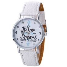 FUNIQUE Fashion Ladies Dress Wrist Watches Women Follow Dreams Round Clock Colorful Leather Strap Watch Quartz Female Gift