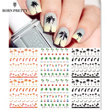 Coconut Trees Nail Water Decals Summer Style Transfer Stickers 1 sheet Anchors Nail Art Stickers #21567(China)