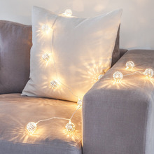 Battery Powered Warm White led Fairy String light Round Silver Iron ball decorative rope for indoor outdoor(China)