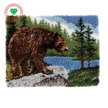 Hooby Needlework Latch Hook Rug Kits DIY Unfinished Crocheting Rug Yarn Cushion Mat White Bear at Rest 3D Embroidery Carpet