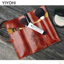 YIYOHI Women Makeup Brushes Bag Vintage Cosmetic Bag Twilight Kit Pens PU Leather Travel Make Up Bag Toiletry Organizer Holder