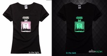 New women lady girl wast slim  bottle perfume paris tower cosplay glow in the dark t shirt Luminous TShirt tee