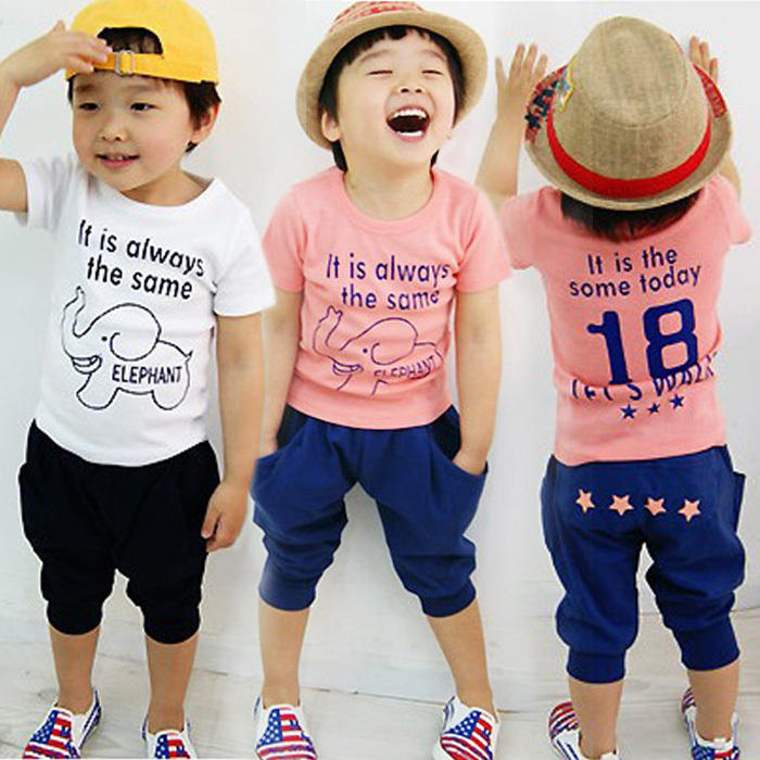 (lucky store) sports suit summer style baby boy Elephant t-shirt+ pants kids clothes<br><br>Aliexpress