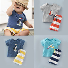 Europe and The United States Boys Striped Pants Three Color Printing T-shirt + 2 Piece Virgin Suit Hot Style Boys Clothing Set