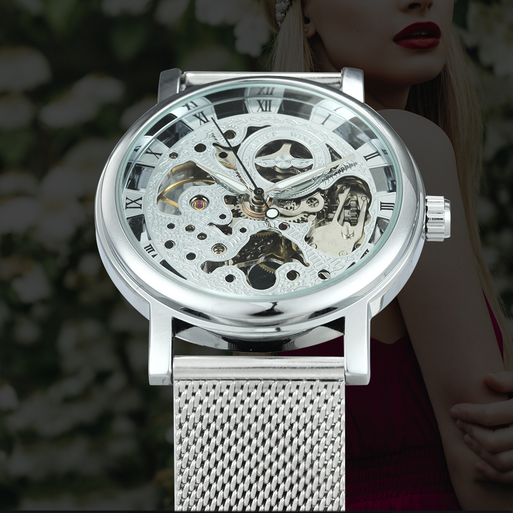 Women Watches Mesh-Strap Mechanical Skeleton WINNER Official Top-Brand Ultra-Thin Ladies title=