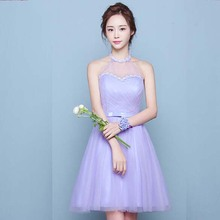 sexy tulle halter neck applique corset sweetheart neckline lavender prom dress short knee length gown free shipping S3566