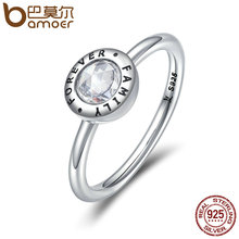 BAMOER Authentic 100% 925 Sterling Silver Forever Family Clear CZ Finger Rings for Women Luxury Silver Jewelry Anel SCR193(China)
