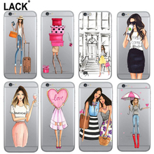 LACK Fashion Shopping pretty Girl Sister Painted Soft Case For iPhone SE 5 SE Ultrathin Clear TPU Shockproof Cover Capa Funda(China)
