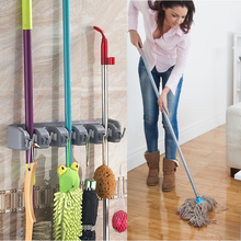 High Quality Kitchen Wall Mounted Mop Holder 5/4/3 Position Kitchen Storage Mop Brush Broom Organizer Hanger Tool