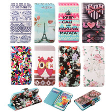 Flower & Tower Pattern Style PU Leather Case for Samsung S4mini Flip Wallet Cover Phone Case For Samsung Galaxy S4 mini I9190