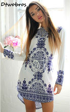 2017 Casual Style Blue And White Porcelain Pattern Women Straight Dresses Long Sleeve Summer Girls Dress Vestidos