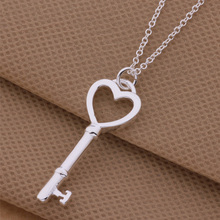 Fashion Silver Necklace Hollow Heart Key Pendant Necklace For Women Men AN256