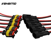 Vehemo Hot 5 set 2 Pin Car Auto Vehicle Waterproof Electrical Connector Adapter W/Wire AWG Black High quality(China)