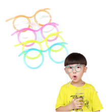 2PCS DIY Straw Children's Creative Chirstmas Birthday Party Cartoon Cute Fun Wacky Glasses Straw Toys Household items Drinkware3