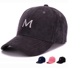 HATLANDER girls corduroy fabric baseball cap with small M embroidery cap for men and women