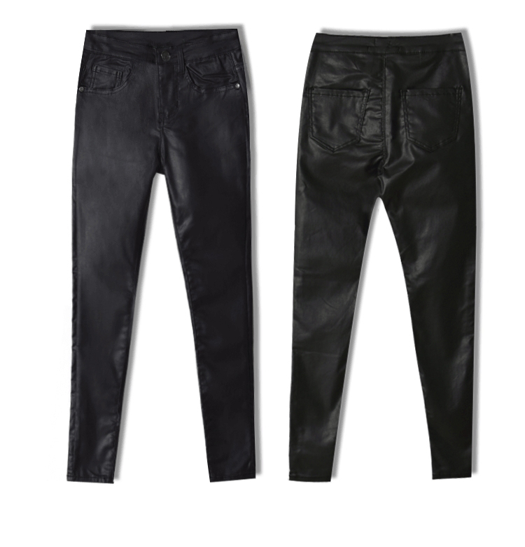 2017 New Hot Eu Models Women Sexy Slim PU Pockets Leather Pencil Pants Motor Style All-Match Fleece Trousers Slim Faux Leather (11)