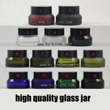 15g 30g 50g matte colorful Transparent glass cosmetic containers cream jar Frosted glass bottle for cosmetic packaging