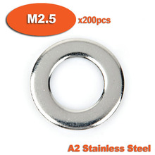 200pcs DIN125 M2.5 A2 Stainless Steel Flat Washer Washers