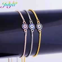 Ali Moda Dropshipping Micro Pave Gold/Silver Colorful Zircon Evil EYE Greek Round Charms With Adjustable Box Chains Bracelets
