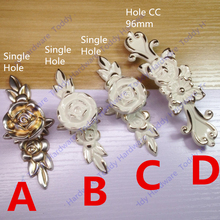 Length 120mm Hole C:C: 96mm / Single knob drawer pulls Antique cabinet handle Ivory white color with Flower Carved