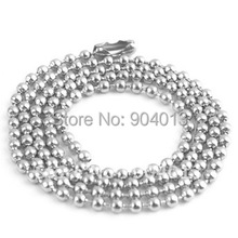 50pcs 2.4 mmx500mm stainless steel Ball Chain Beads Necklace Pendant Chain free shipping(China)