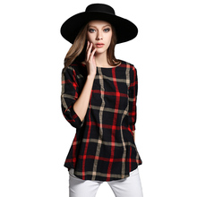 Autumn Women Plaid Blouse Vintage XXXXXL O Neck 3/4 Sleeve Line Casual Ladies Shirts XXXXL Plus Size Tops Blusas Femininas Red
