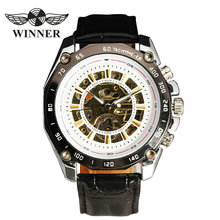 T-WINNER 2017 Sport Men's Auto Mechanical Wrist Watch Leather Strap Hollow Dial Fashion Design Festival Unique Gift + BOX(China)