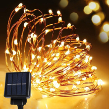 Solar Power String Light Waterproof LED Strip 10m 120 LED Copper Wire lamp Warm White For Outdoor Christmas decoration lights