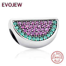 EVOJEW Lovely 925 Sterling Silver Pave Watermelon Red & Green CZ Charm Fit Original Evojew Bracelets&Bangles Women Accessories(China)