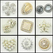 flower pearl covered rhinestone embellishment  Beautiful Silver Plated Faux Pearl Clear Glass Rhinestone Buttons,10Yc785