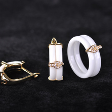 Blucome White Ceramic Earrings Ring Jewelry Sets Copper Princess Hooks Stud Earrings Rhinestones Zircon Two Rings With Gift Box(China)
