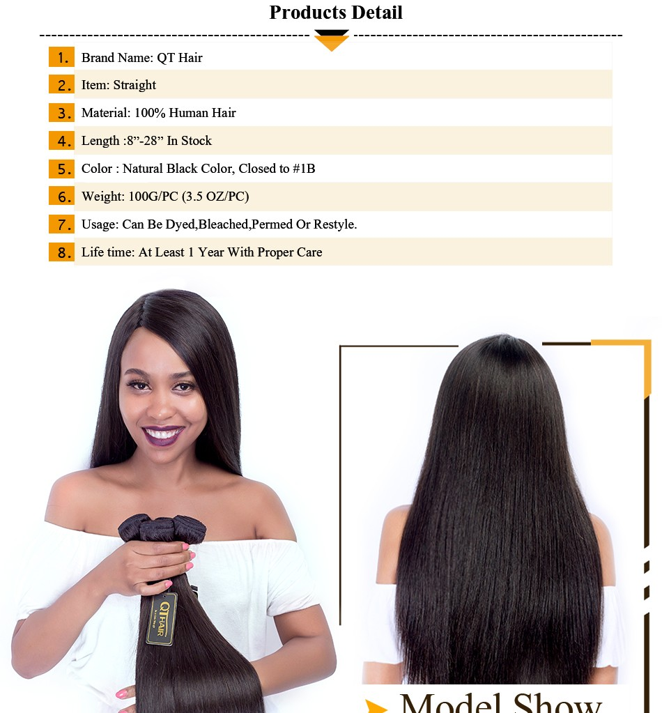 QThair Peruvian Hair Straight Non-remy 100% Human Hair Weave Bundles Natural Black Color Free Shipping