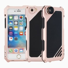 Shockproof Waterproof Metal Alluminum Alloy Camera Shell Phone Case For iPhone 6 6s with Wide Angle Macro Fisheye Lens(China)