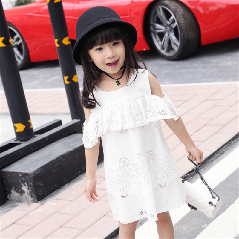 1pc Summer Style Girls Lace Dress Hollow Out Fashion Shoulder Dresses For Children Elegant Vestidos Kids Round Neck Clothing<br><br>Aliexpress