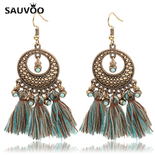 Sauvoo New Arrival Big Wheat Lattice Pattern Silk Tassel Pendant Drop Earrings for Women Bohemian Party Statement Ear Jewelry(China)
