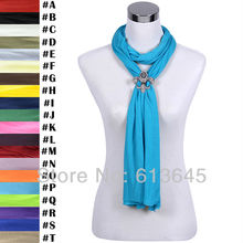 Rhinestones Magnet Fleur De Lis Pendant Scarf, Jewelry Necklace Scarves for Women, Free Shipping, SC0020