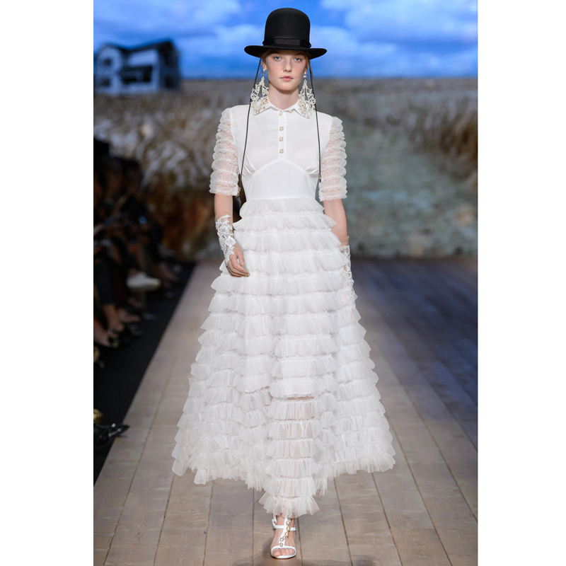 Summer Korean Splicing Pleated Tulle T shirt Dress Women Solid Color White Clothes New Fashion 2018 Button Up Maxi Gown Dress