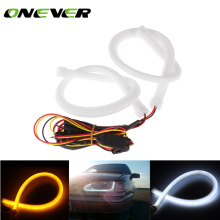 2pcs 45cm Daytime Running Light Universial Flexible Soft Tube Guide Car LED Strip White DRL and Yellow Turn Signal Light(China)