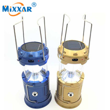 6 LED Rechargeable Camping Light Classic Style Collapsible Solar Camping Lantern Tent Lights for Outdoor Camping Hiking(China)