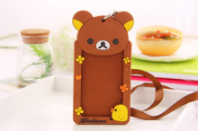 Kawaii 12*6CM Brown Rilakkuma Bear Rubber Cards CASE , BUS & ID Message Card Holder Case , Cards Pouch BAG Holder Case