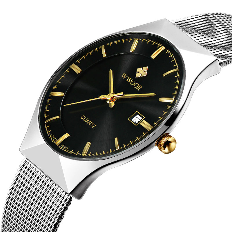 Top Brand Casual Mens Watches Stainless Steel Band Net Belt Analog Sports Quartz Wristwatch Ultra Thin Dial Luxury Watches Men<br>