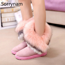 Free Shipping Women Fashion Winter Fox Rabbit Fur Tassel Suede Snow Real Leather Boots 9125 Women's Shoes Size 36-40